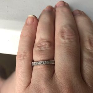 Tacori 925 Silver Princess Cut Engraved Band Ring